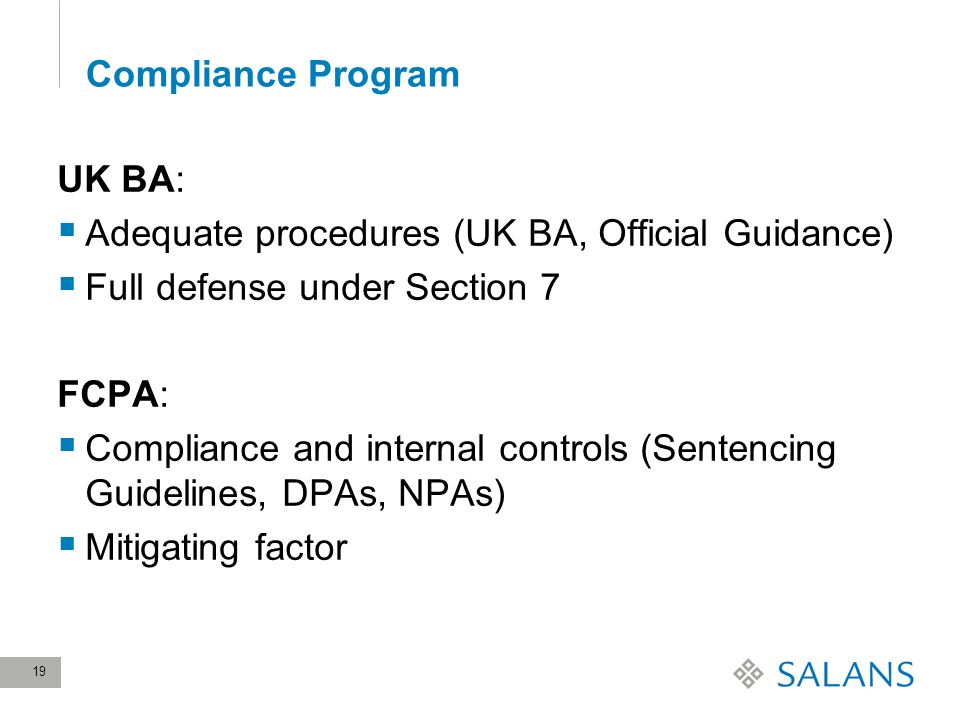 19 Compliance Program UK BA: Adequate procedures (UK BA, Official Guidance) Full defense under Section 7 FCPA: Compliance and internal controls (Sentencing Guidelines, DPAs, NPAs) Mitigating factor