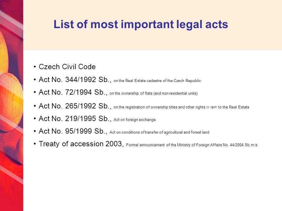 List of most important legal acts Czech Civil Code Act No.