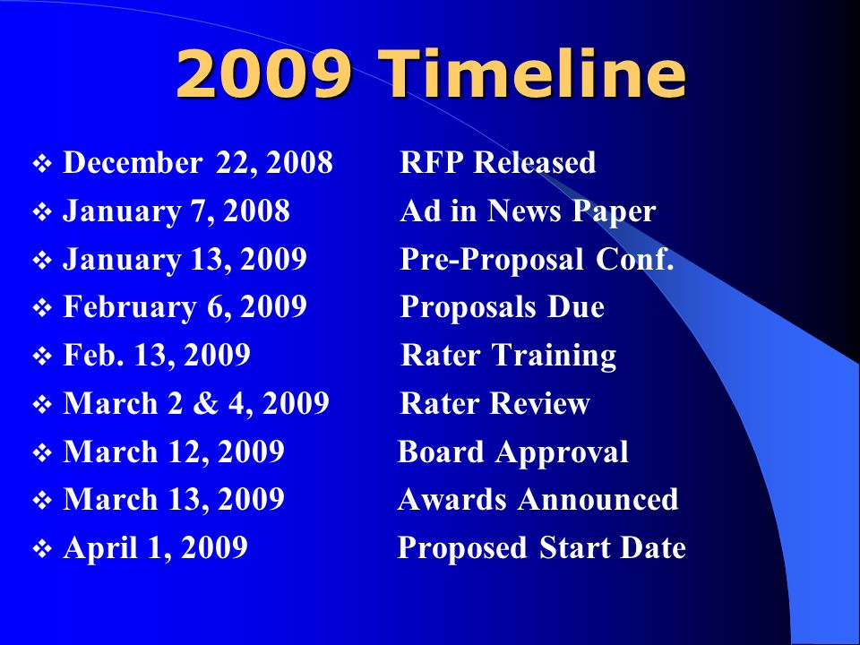 2009 Timeline December 22, 2008 RFP Released January 7, 2008 Ad in News Paper January 13, 2009 Pre-Proposal Conf.