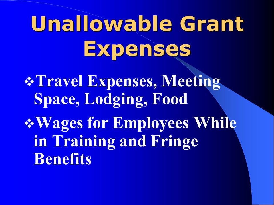 Unallowable Grant Expenses Travel Expenses, Meeting Space, Lodging, Food Wages for Employees While in Training and Fringe Benefits