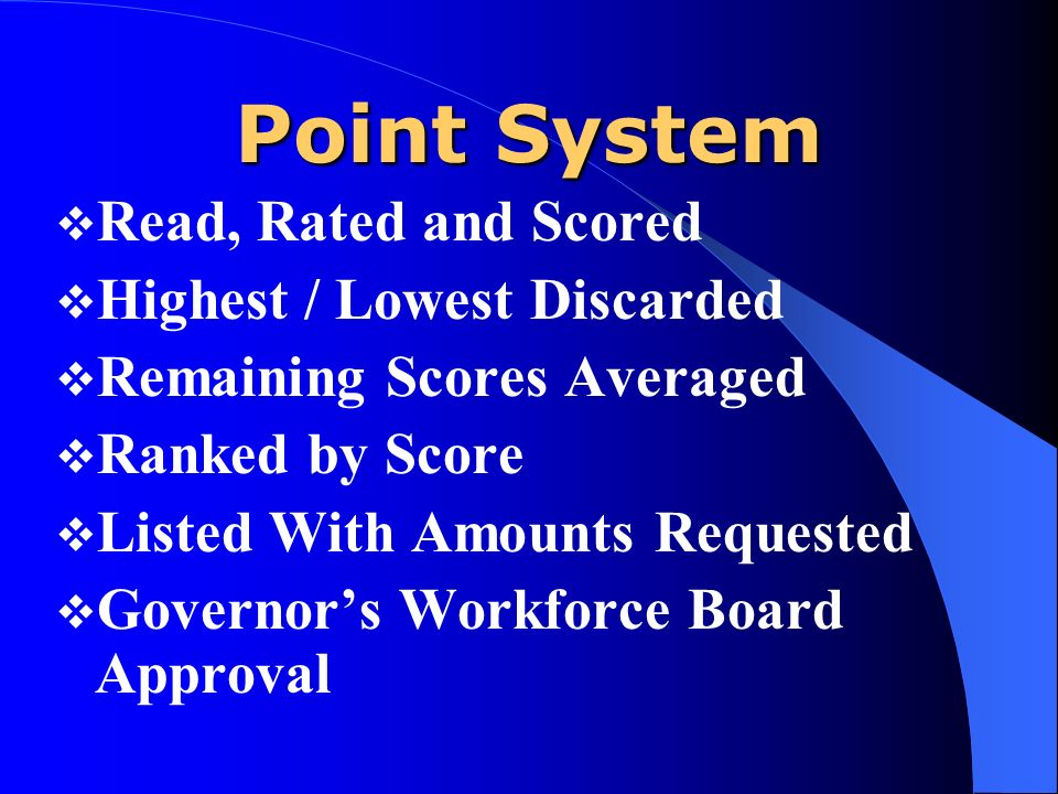 Point System Read, Rated and Scored Highest / Lowest Discarded Remaining Scores Averaged Ranked by Score Listed With Amounts Requested Governors Workforce Board Approval