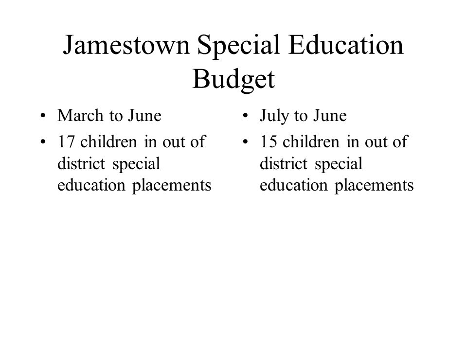 Jamestown Special Education Budget March to June 17 children in out of district special education placements July to June 15 children in out of district special education placements