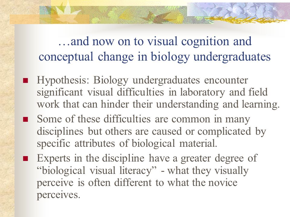 …and now on to visual cognition and conceptual change in biology undergraduates Hypothesis: Biology undergraduates encounter significant visual difficulties in laboratory and field work that can hinder their understanding and learning.
