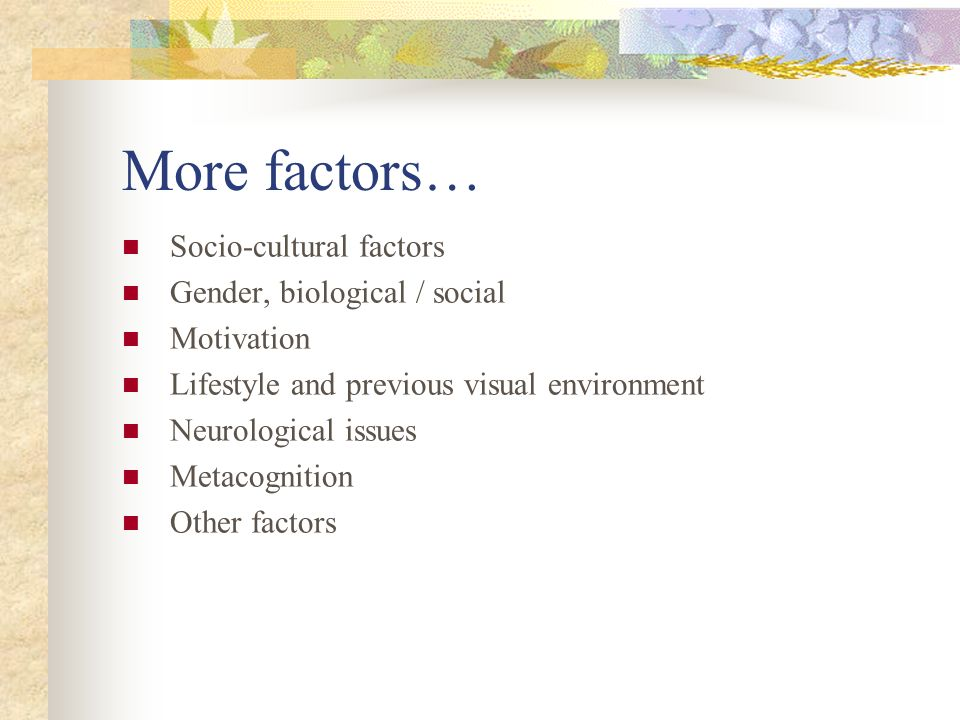 More factors… Socio-cultural factors Gender, biological / social Motivation Lifestyle and previous visual environment Neurological issues Metacognition Other factors