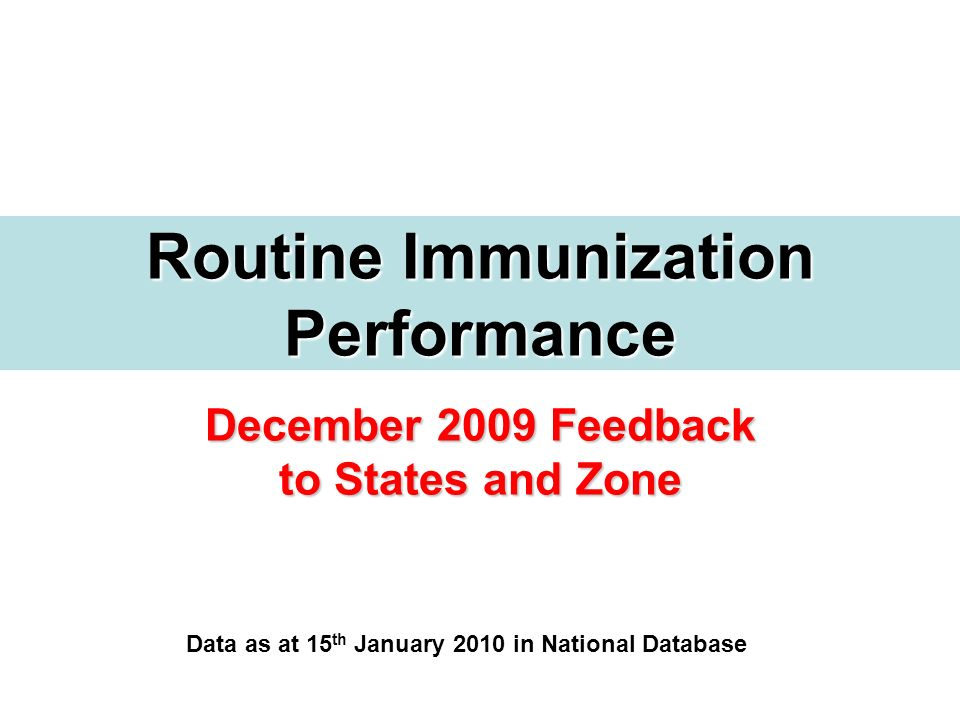 December 2009 Feedback to States and Zone Routine Immunization Performance Data as at 15 th January 2010 in National Database