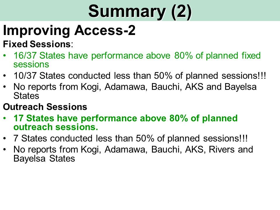 Summary (2) Improving Access-2 Fixed Sessions: 16/37 States have performance above 80% of planned fixed sessions 10/37 States conducted less than 50% of planned sessions!!.