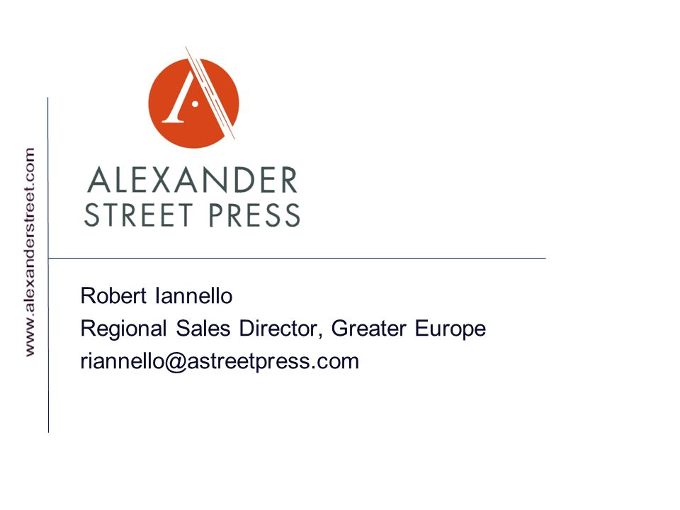 Robert Iannello Regional Sales Director, Greater Europe