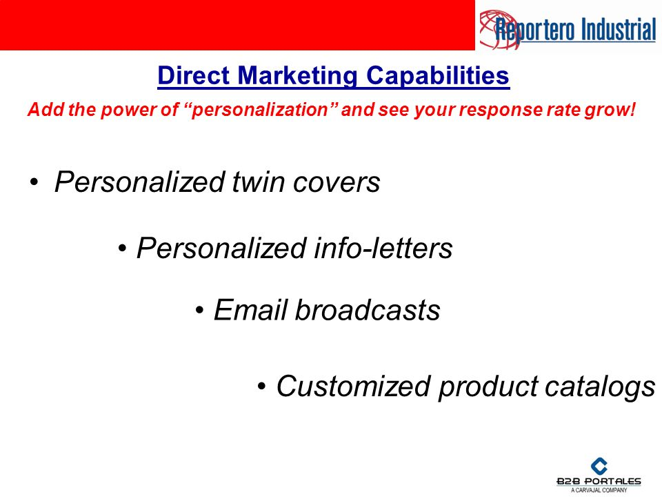 Personalized twin covers Direct Marketing Capabilities Add the power of personalization and see your response rate grow.