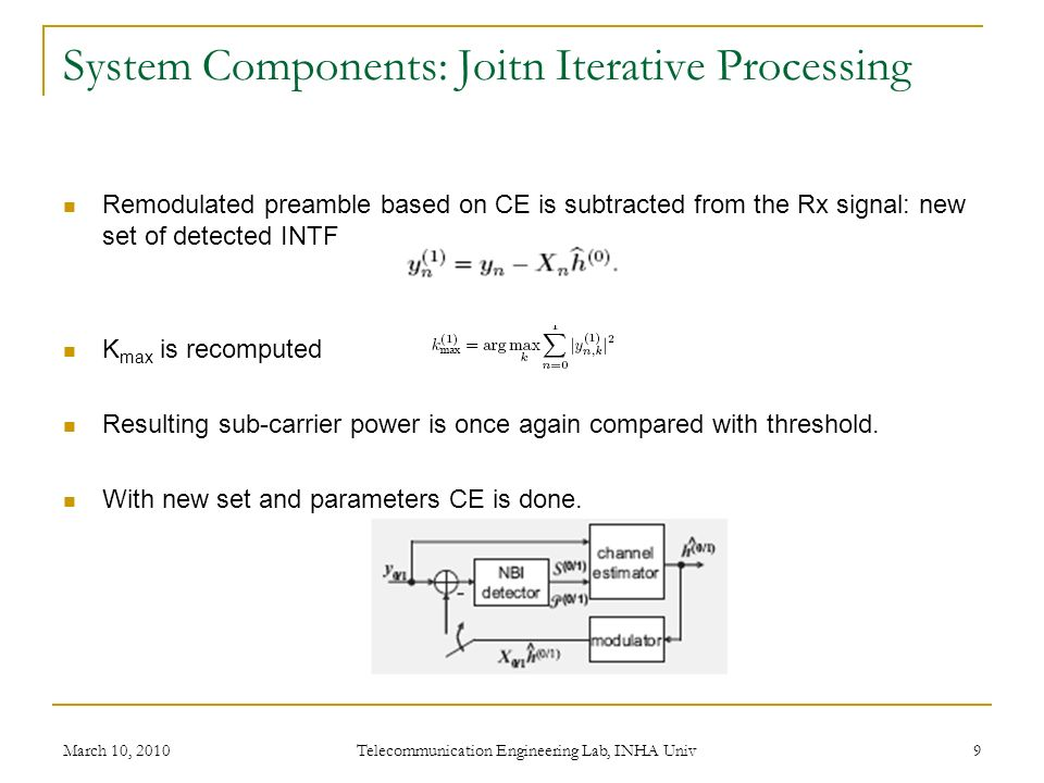 System Components: Joitn Iterative Processing Remodulated preamble based on CE is subtracted from the Rx signal: new set of detected INTF K max is recomputed Resulting sub-carrier power is once again compared with threshold.
