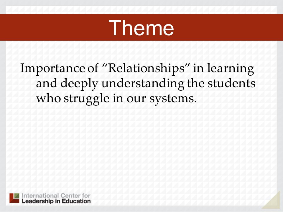 Importance of Relationships in learning and deeply understanding the students who struggle in our systems.
