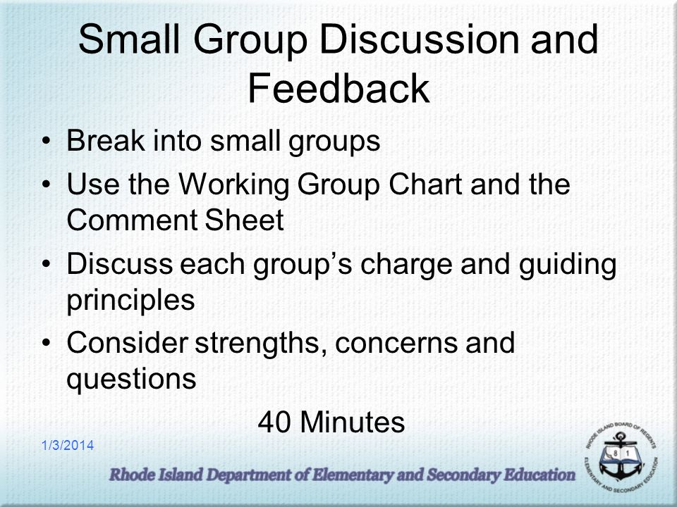 Small Group Discussion and Feedback Break into small groups Use the Working Group Chart and the Comment Sheet Discuss each groups charge and guiding principles Consider strengths, concerns and questions 40 Minutes 1/3/2014