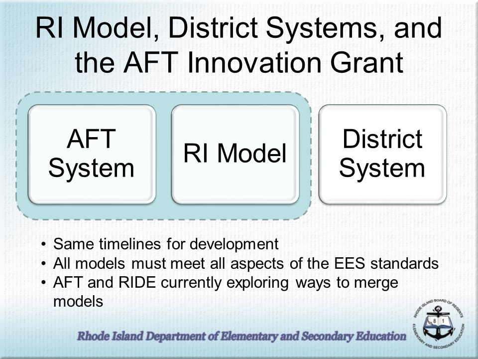 RI Model, District Systems, and the AFT Innovation Grant AFT System RI Model District System Same timelines for development All models must meet all aspects of the EES standards AFT and RIDE currently exploring ways to merge models