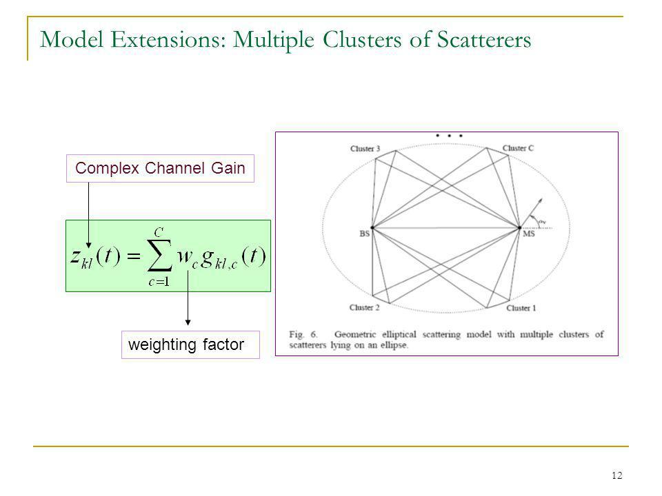 12 Model Extensions: Multiple Clusters of Scatterers Complex Channel Gain weighting factor