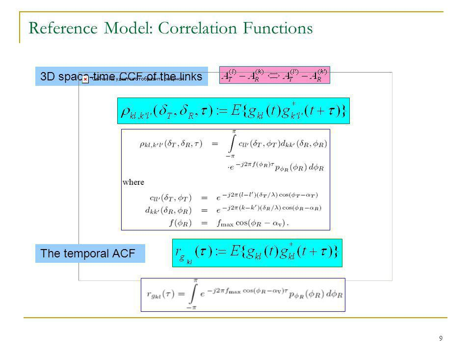 9 Reference Model: Correlation Functions 3D space-time CCF of the links The temporal ACF