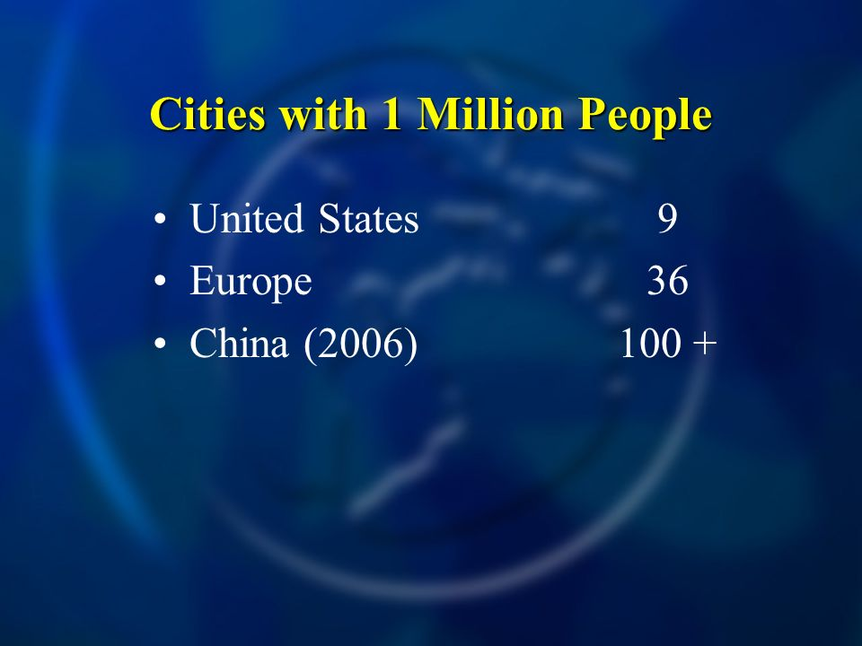 Cities with 1 Million People United States Europe China (2006) 9 36 100 +