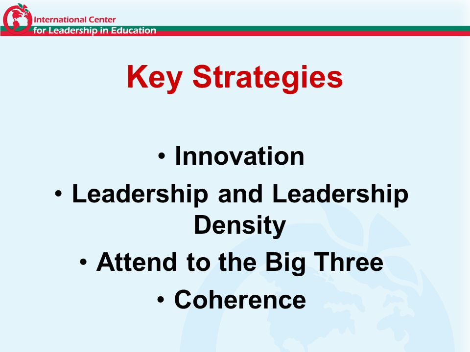 Key Strategies Innovation Leadership and Leadership Density Attend to the Big Three Coherence