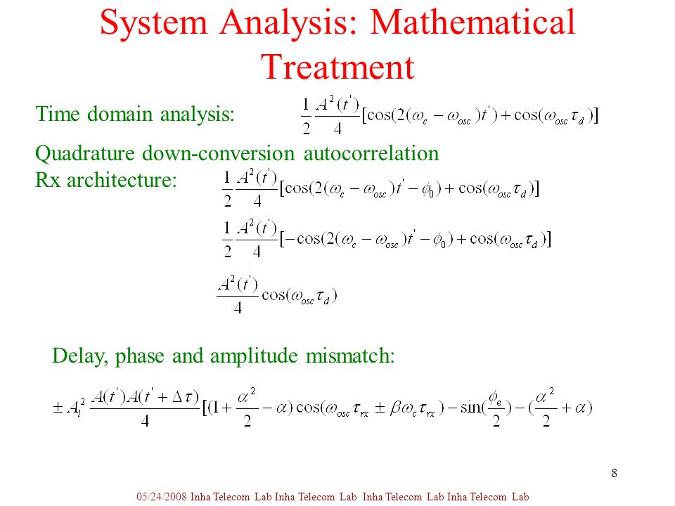 8 System Analysis: Mathematical Treatment 05/24/2008 Inha Telecom Lab Inha Telecom Lab Inha Telecom Lab Inha Telecom Lab Time domain analysis: Quadrature down-conversion autocorrelation Rx architecture: Delay, phase and amplitude mismatch: