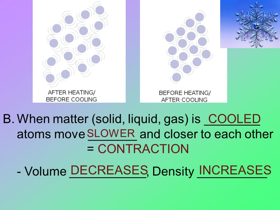 B.When matter (solid, liquid, gas) is ________ atoms move _______ and closer to each other = CONTRACTION - Volume ___________, Density __________ COOLED SLOWER DECREASESINCREASES