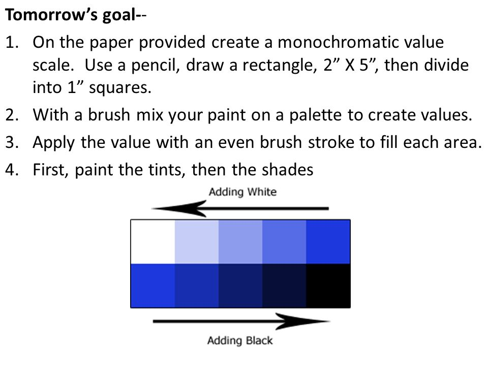 Tomorrows goal-- 1.On the paper provided create a monochromatic value scale.
