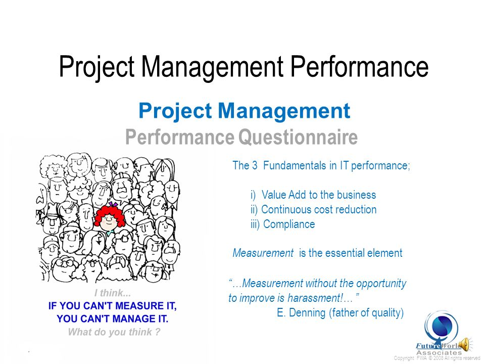 Copyright FWA © 2008 All rights reserved Project Management Performance Process Outline U nderstand P lan R esolve O rganise A pply R e-enforce