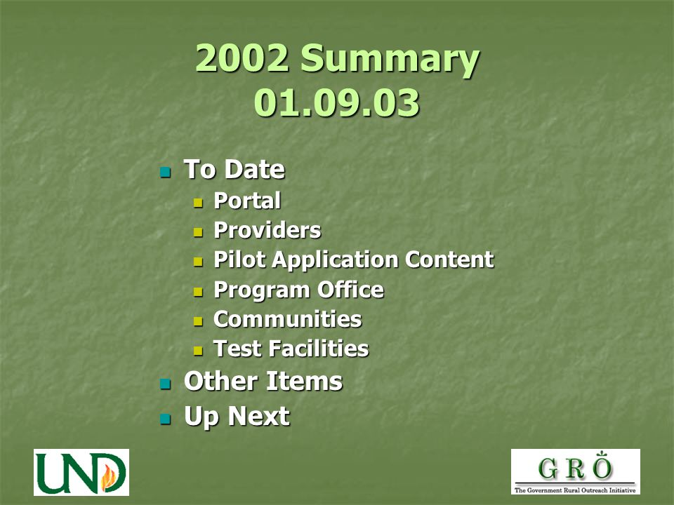 2002 Summary To Date To Date Portal Portal Providers Providers Pilot Application Content Pilot Application Content Program Office Program Office Communities Communities Test Facilities Test Facilities Other Items Other Items Up Next Up Next