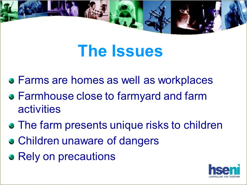 The Issues Farms are homes as well as workplaces Farmhouse close to farmyard and farm activities The farm presents unique risks to children Children unaware of dangers Rely on precautions