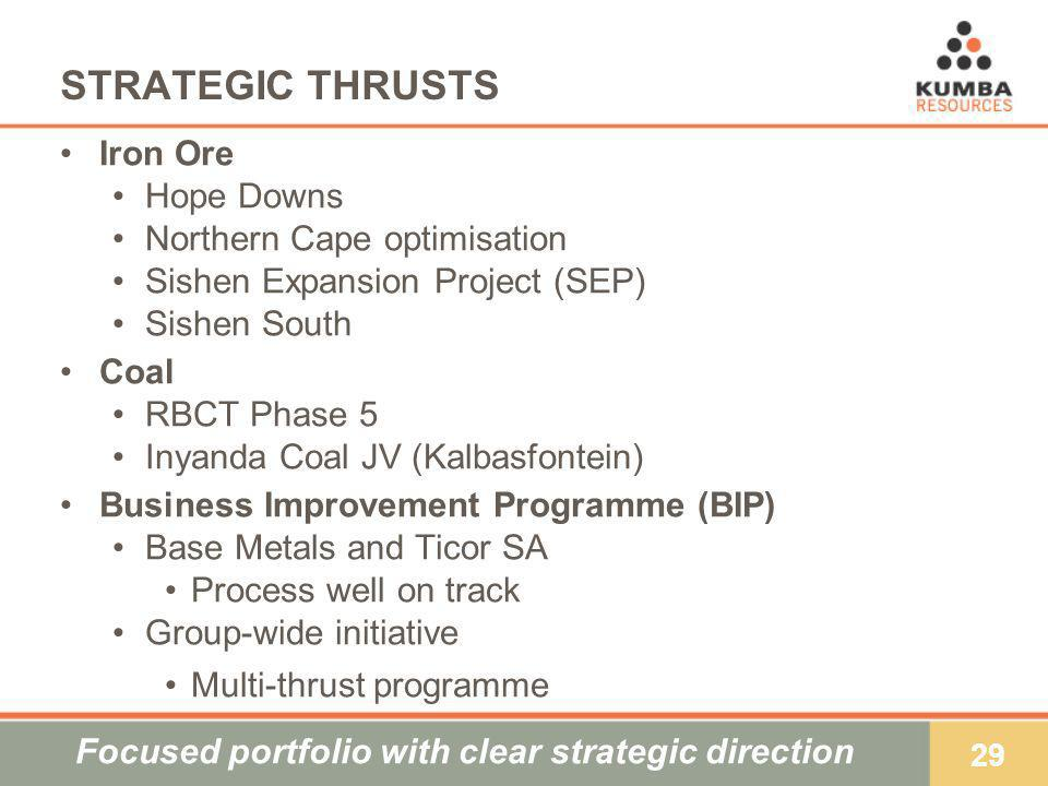 29 STRATEGIC THRUSTS Iron Ore Hope Downs Northern Cape optimisation Sishen Expansion Project (SEP) Sishen South Coal RBCT Phase 5 Inyanda Coal JV (Kalbasfontein) Business Improvement Programme (BIP) Base Metals and Ticor SA Process well on track Group-wide initiative Multi-thrust programme Focused portfolio with clear strategic direction