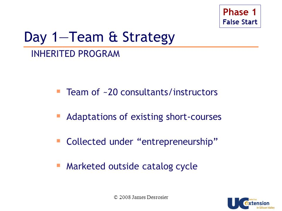 © 2008 James Desrosier Day 1Team & Strategy Phase 1 False Start Team of ~20 consultants/instructors Adaptations of existing short-courses Collected under entrepreneurship Marketed outside catalog cycle INHERITED PROGRAM