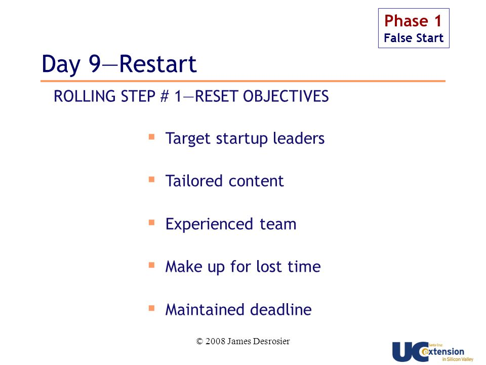 © 2008 James Desrosier Day 9Restart Phase 1 False Start Target startup leaders Tailored content Experienced team Make up for lost time Maintained deadline ROLLING STEP # 1RESET OBJECTIVES