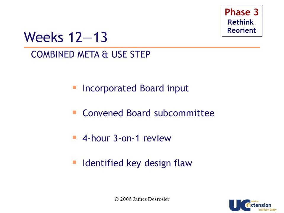 © 2008 James Desrosier Phase 3 Rethink Reorient Incorporated Board input Convened Board subcommittee 4-hour 3-on-1 review Identified key design flaw Weeks 1213 COMBINED META & USE STEP