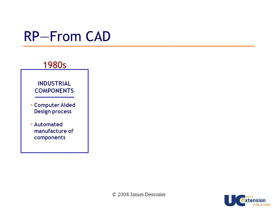 © 2008 James Desrosier 1980s INDUSTRIAL COMPONENTS Computer Aided Design process Automated manufacture of components RPFrom CAD