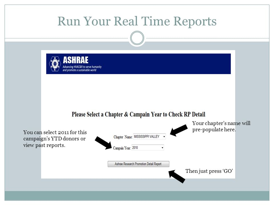 Run Your Real Time Reports Your chapters name will pre-populate here.