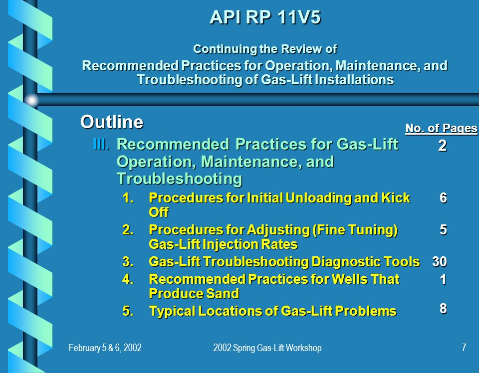 February 5 & 6, Spring Gas-Lift Workshop7 API RP 11V5 Continuing the Review of Recommended Practices for Operation, Maintenance, and Troubleshooting of Gas-Lift Installations Outline III.Recommended Practices for Gas-Lift Operation, Maintenance, and Troubleshooting 1.Procedures for Initial Unloading and Kick Off 2.Procedures for Adjusting (Fine Tuning) Gas-Lift Injection Rates 3.Gas-Lift Troubleshooting Diagnostic Tools 4.Recommended Practices for Wells That Produce Sand 5.Typical Locations of Gas-Lift Problems No.