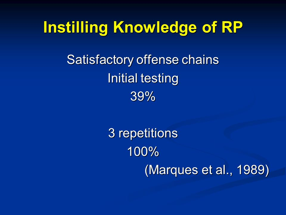 Instilling Knowledge of RP Satisfactory offense chains Initial testing 39% 3 repetitions 100% (Marques et al., 1989)