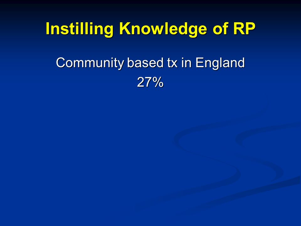 Instilling Knowledge of RP Community based tx in England 27%