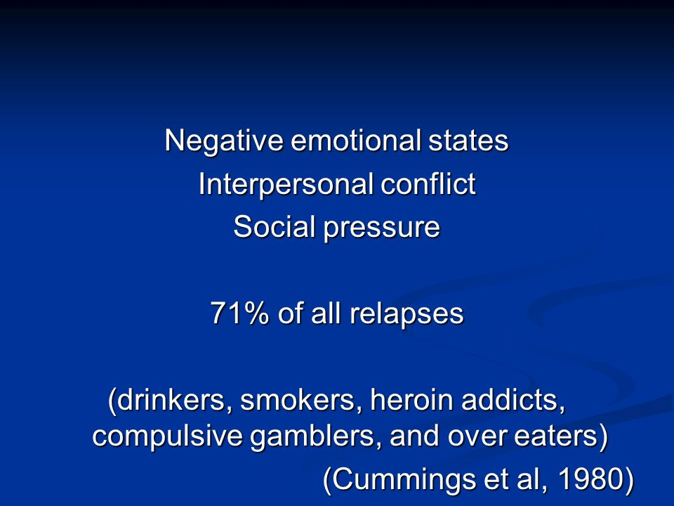 Negative emotional states Interpersonal conflict Social pressure 71% of all relapses (drinkers, smokers, heroin addicts, compulsive gamblers, and over eaters) (Cummings et al, 1980)