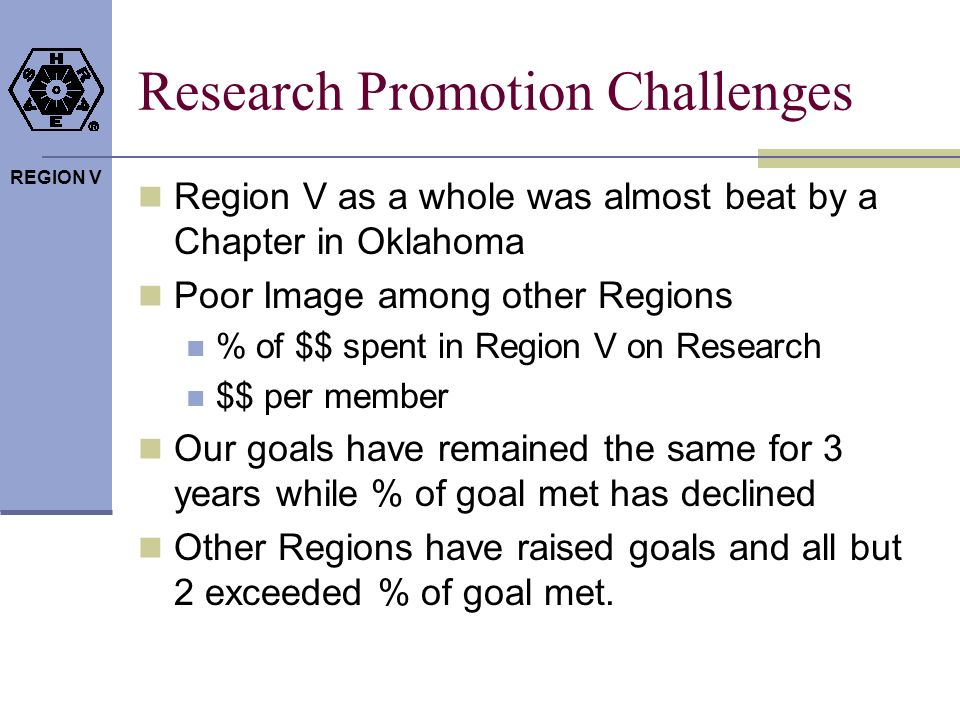 REGION V Research Promotion Challenges Region V as a whole was almost beat by a Chapter in Oklahoma Poor Image among other Regions % of $$ spent in Region V on Research $$ per member Our goals have remained the same for 3 years while % of goal met has declined Other Regions have raised goals and all but 2 exceeded % of goal met.