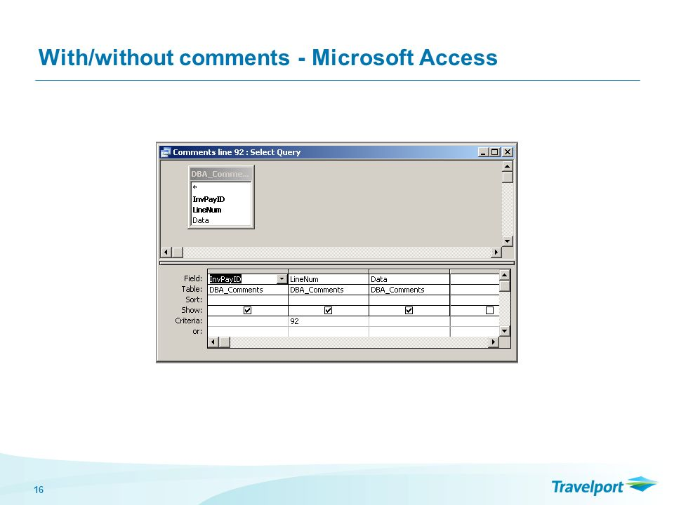 16 With/without comments - Microsoft Access