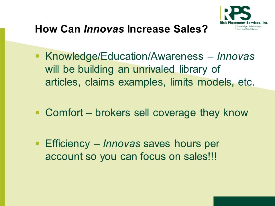 How Can Innovas Increase Sales.