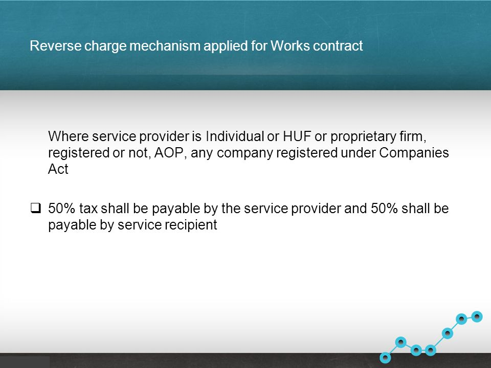 Reverse charge mechanism applied for Works contract Where service provider is Individual or HUF or proprietary firm, registered or not, AOP, any company registered under Companies Act 50% tax shall be payable by the service provider and 50% shall be payable by service recipient
