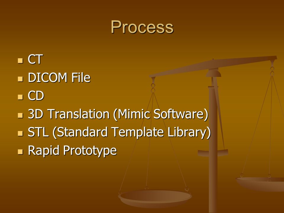 Process CT DICOM File CD 3D Translation (Mimic Software) STL (Standard Template Library) Rapid Prototype