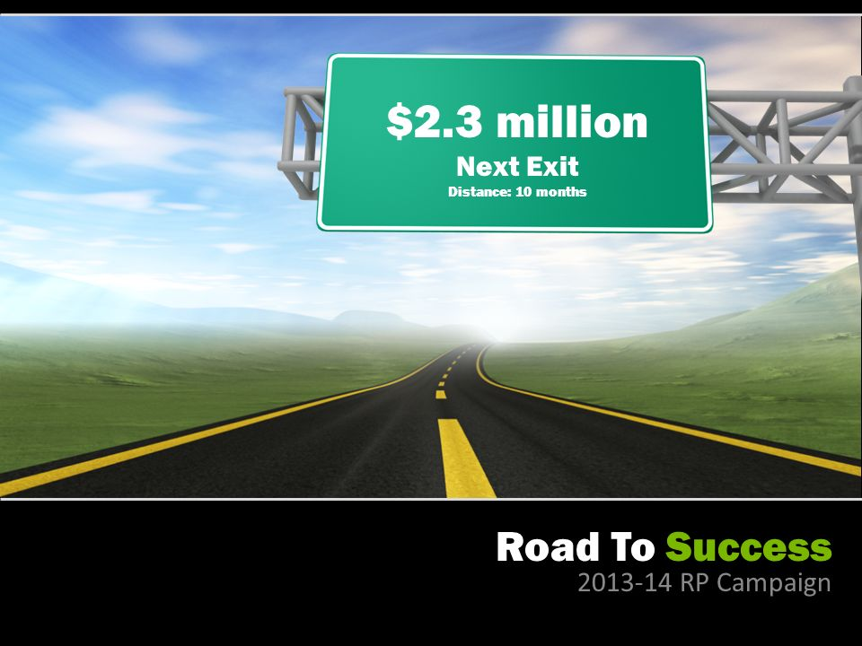 Road To Success RP Campaign $2.3 million Next Exit Distance: 10 months