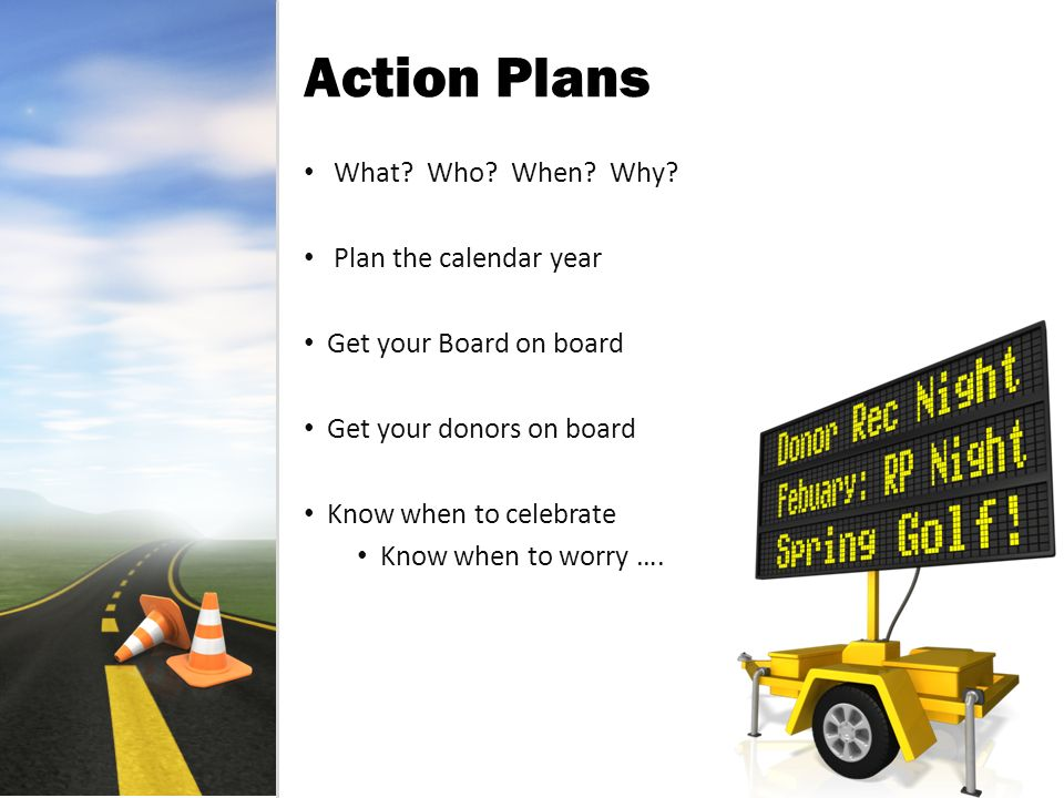 Action Plans What. Who. When. Why.
