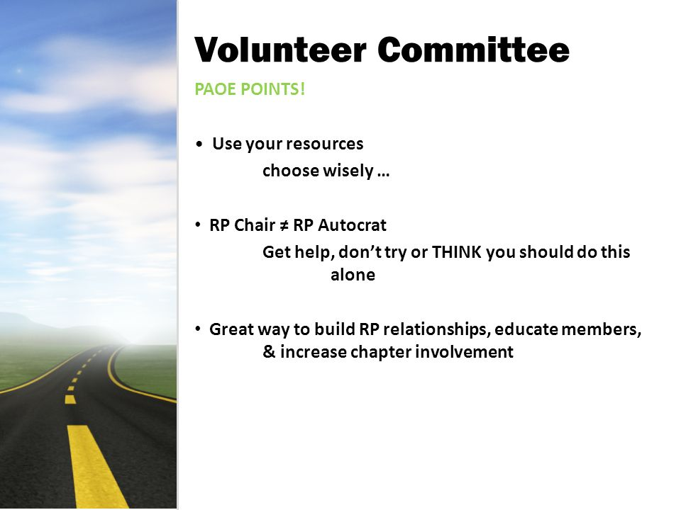 Volunteer Committee PAOE POINTS.