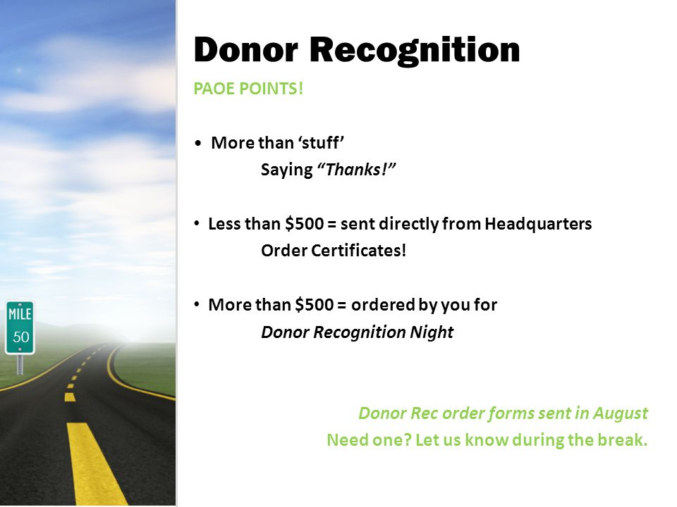 Donor Recognition PAOE POINTS. More than stuff Saying Thanks.