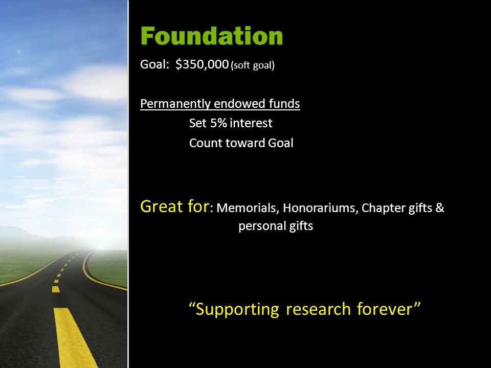 Foundation Goal: $350,000 (soft goal) Permanently endowed funds Set 5% interest Count toward Goal Great for : Memorials, Honorariums, Chapter gifts & personal gifts Supporting research forever