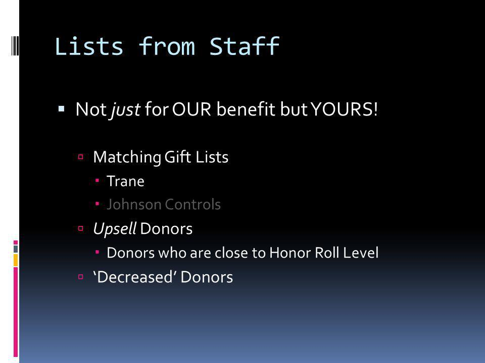 Lists from Staff Not just for OUR benefit but YOURS.