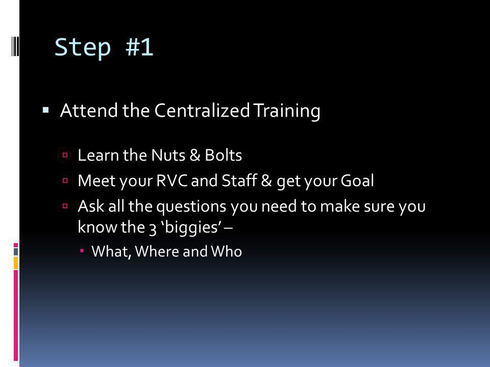 Step #1 Attend the Centralized Training Learn the Nuts & Bolts Meet your RVC and Staff & get your Goal Ask all the questions you need to make sure you know the 3 biggies – What, Where and Who