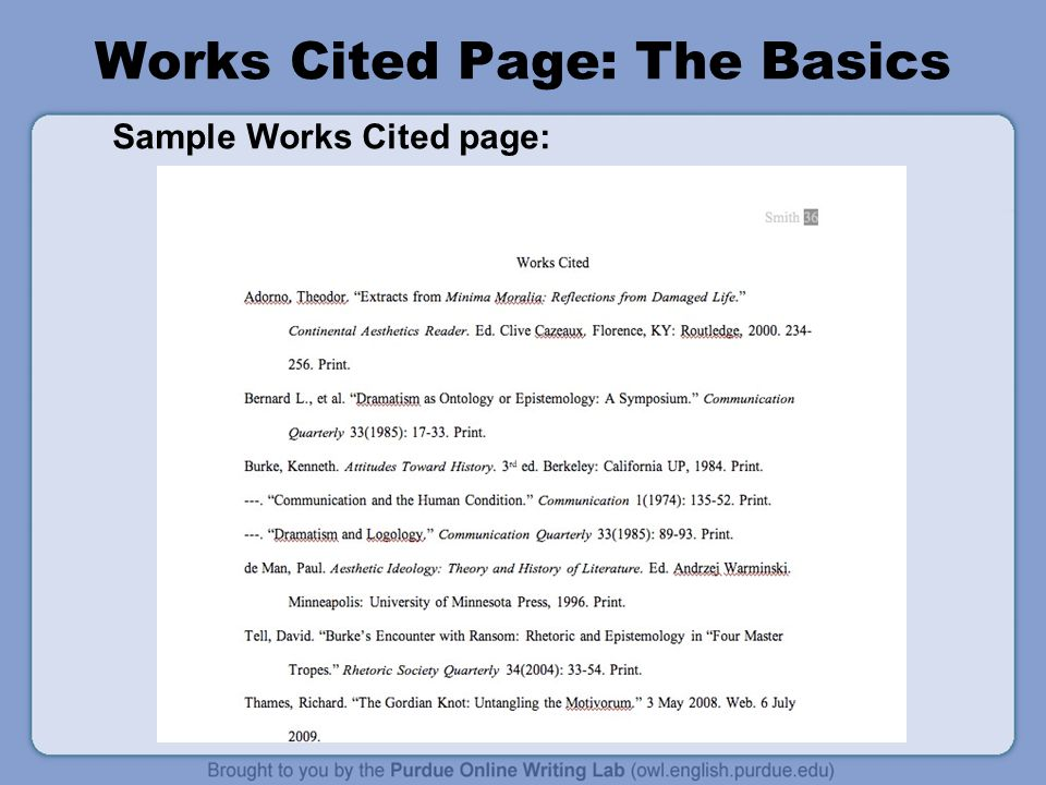 Works Cited Page: The Basics Sample Works Cited page:
