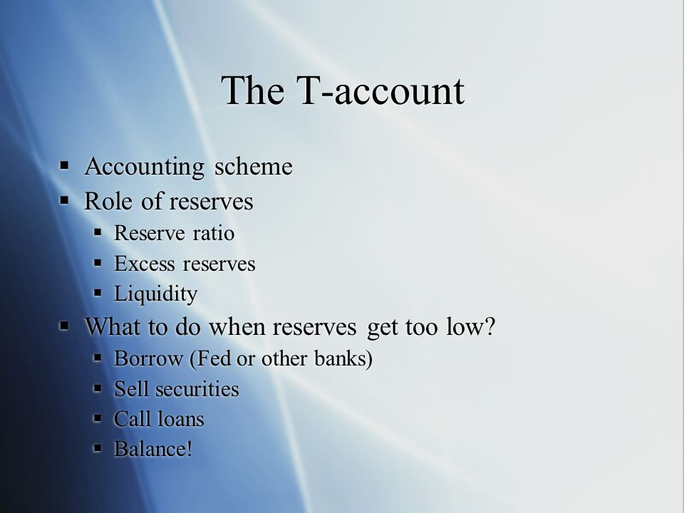 The T-account Accounting scheme Role of reserves Reserve ratio Excess reserves Liquidity What to do when reserves get too low.